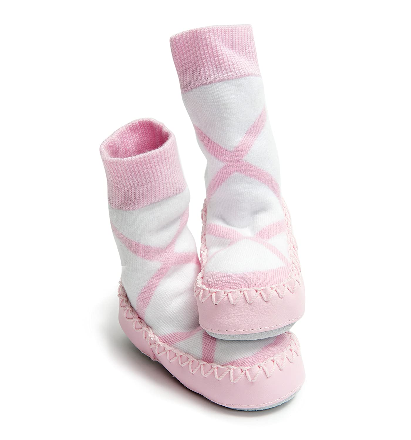 Amazon Com Mocc Ons Clever Little Slipper Socks Pink Ballerina