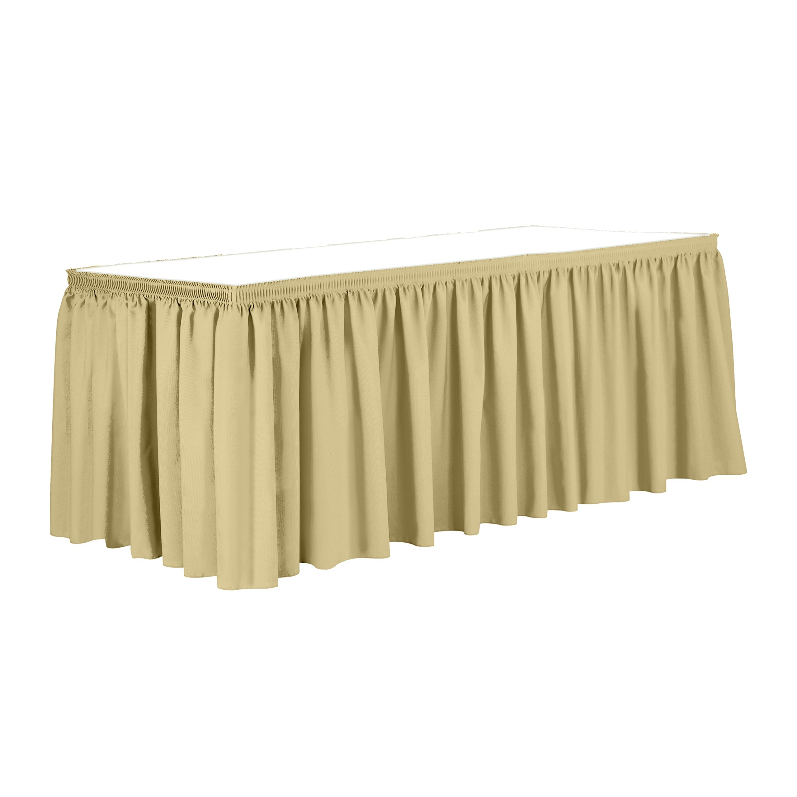 Ultimate Textile 14 ft. Shirred Pleat Polyester Table Skirt - 36'' Counter Serving Height, Honey Light Brown by Ultimate Textile