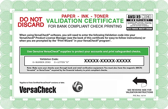 Amazon com: VersaCheck Annual 250 Print Validation Code