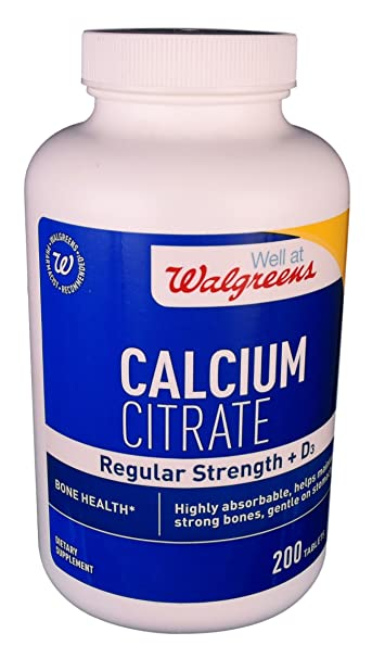 Walgreens Calcium Citrate Regular Strength Plus D3, Tablets, 200 ea