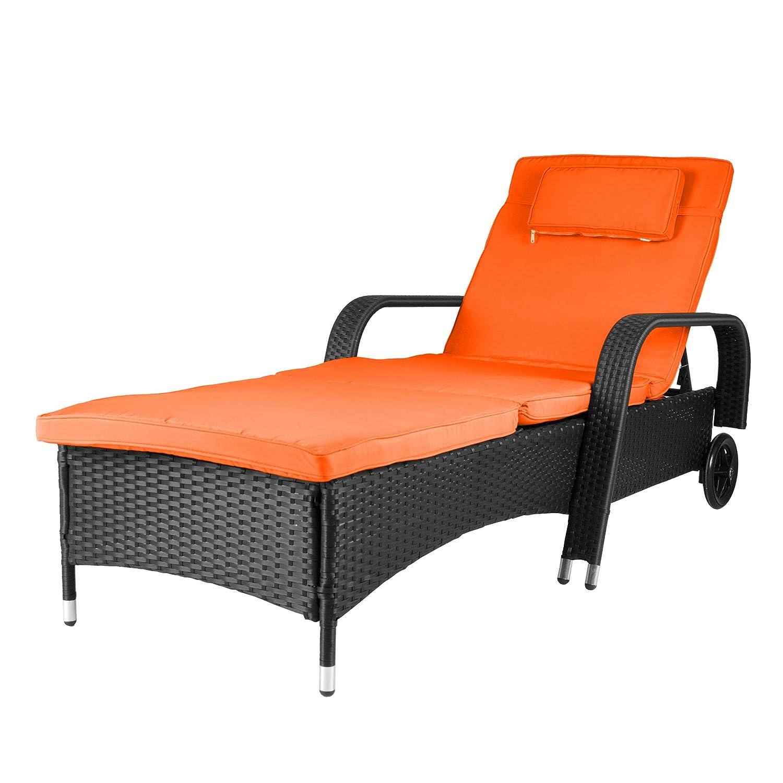 Nexos Rattanliege Mit Auflage Orange Poly Rattan Gartenliege