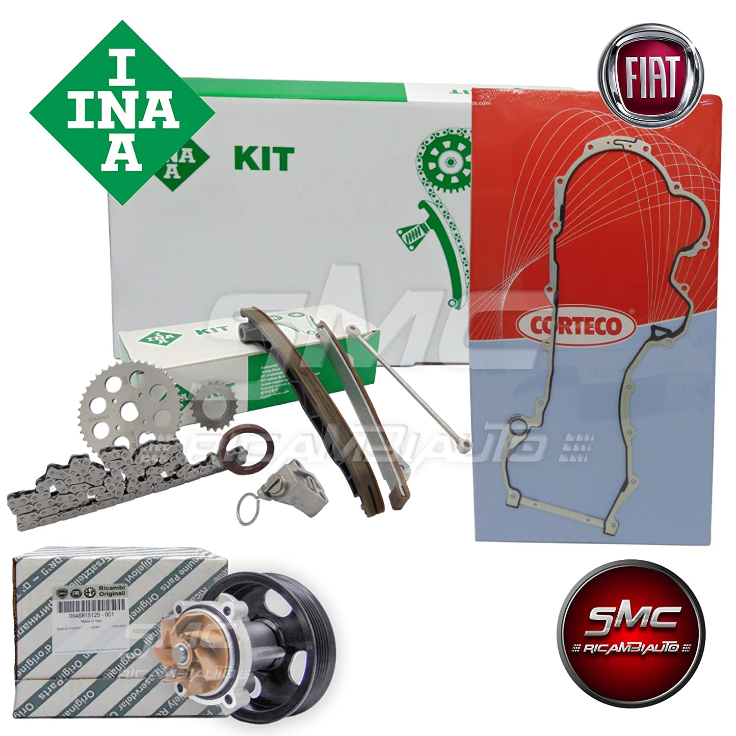 KIT CATENA DISTRIBUZIONE COMPLETO ORIGINALE INA + POMPA ACQUA ORIGINALE OE