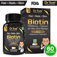 Dr Trust (USA) Biotin 10000 mcg with Added Calcium for Hair Growth Improve Skin & Strengthens Nails Supplements (60 Veg Capsules)