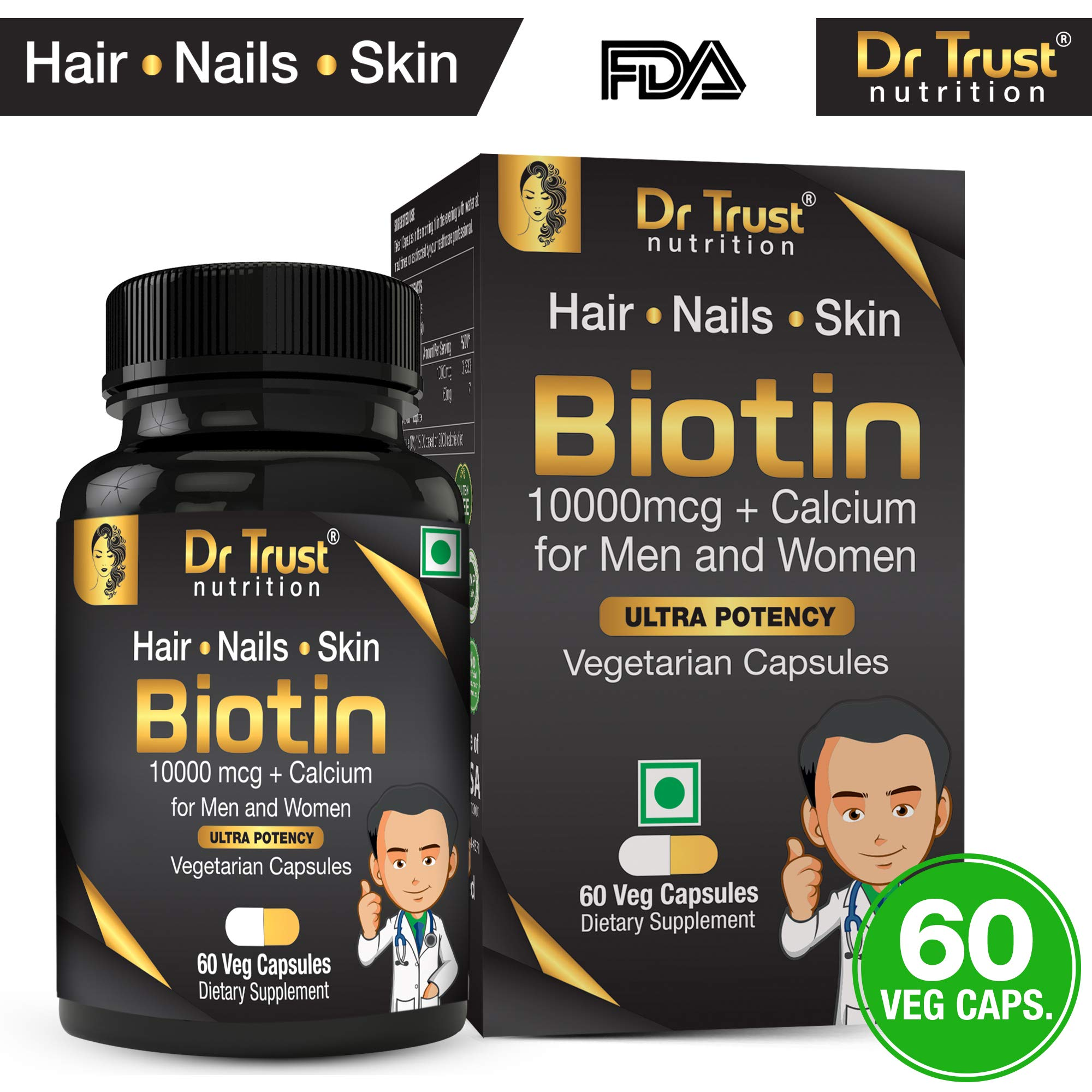 Dr Trust (USA) Biotin 10000 mcg with Added Calcium for Hair Growth Improve Skin & Strengthens Nails Supplements (60 Veg Capsules) product image