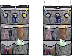 MagicFeel Mesh Hanging Shower Caddy Bath Organizer with 7 Mesh Pockets Bathroom Accessories Hang on Shower Curtain Rod Liner Hook Save Space in Bathroom Tub with 3 Rings (2 Pack)