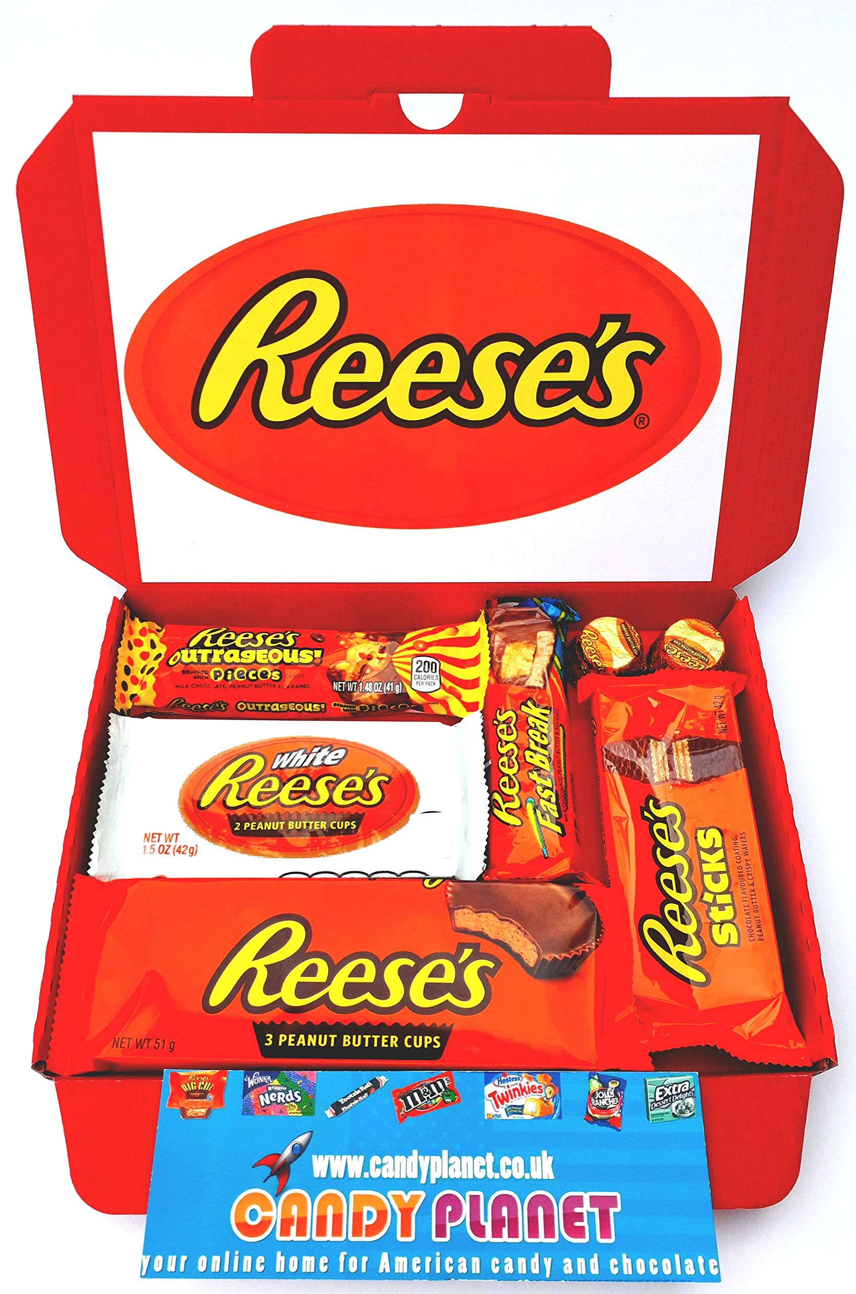 Reese's American Candy Gift Box Hamper | Peanut Butter Chocolate Selection | Letterbox Friendly Glossy Red Box | Reeses White Fast Break Crispy Crunchy Sticks | Hamper Exclusive to CANDYPLANET