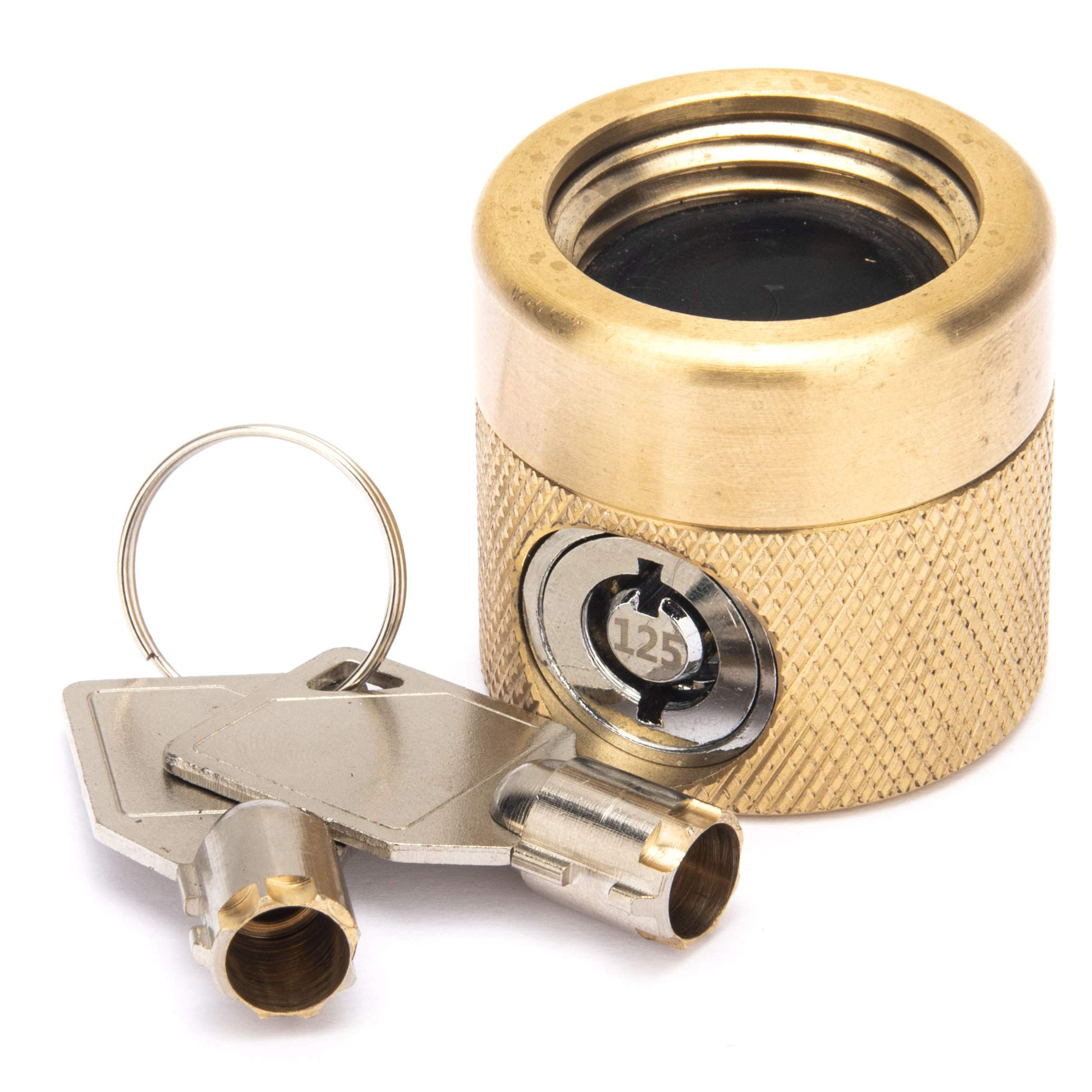 Flow Security Systems | The FaucetLock | Heavy Duty Brass Construction | Prevents Water Theft & Secures Outdoor Bibbs | Promotes Water Conservation | Keyed The Same | FFS 50 | 1 Pack