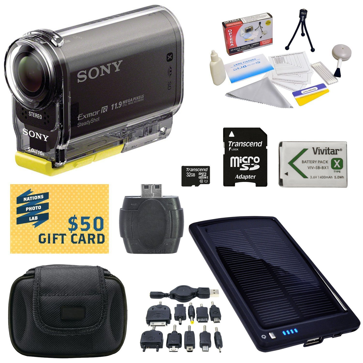 Sony HDR-AS30V HD POV Action Camcorder with 47stPhoto Ultimate Accessory Kit Includes - 32GB High-Speed Micro SD Card + Card Reader + NP-BX1 1400mAh Li-ion Battery + Hard Shell Carrying Case + Solar Battery Charger/ Backup + Lens Cleaning Kit including LC by 47th Street Photo