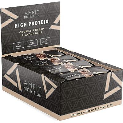 Marca Amazon- Amfit Nutrition Barra de proteína baja en azúcar  (19,6gr proteina - 1,4gr azúcar) - Cookies & Cream - Pack de 12 (12x60g)