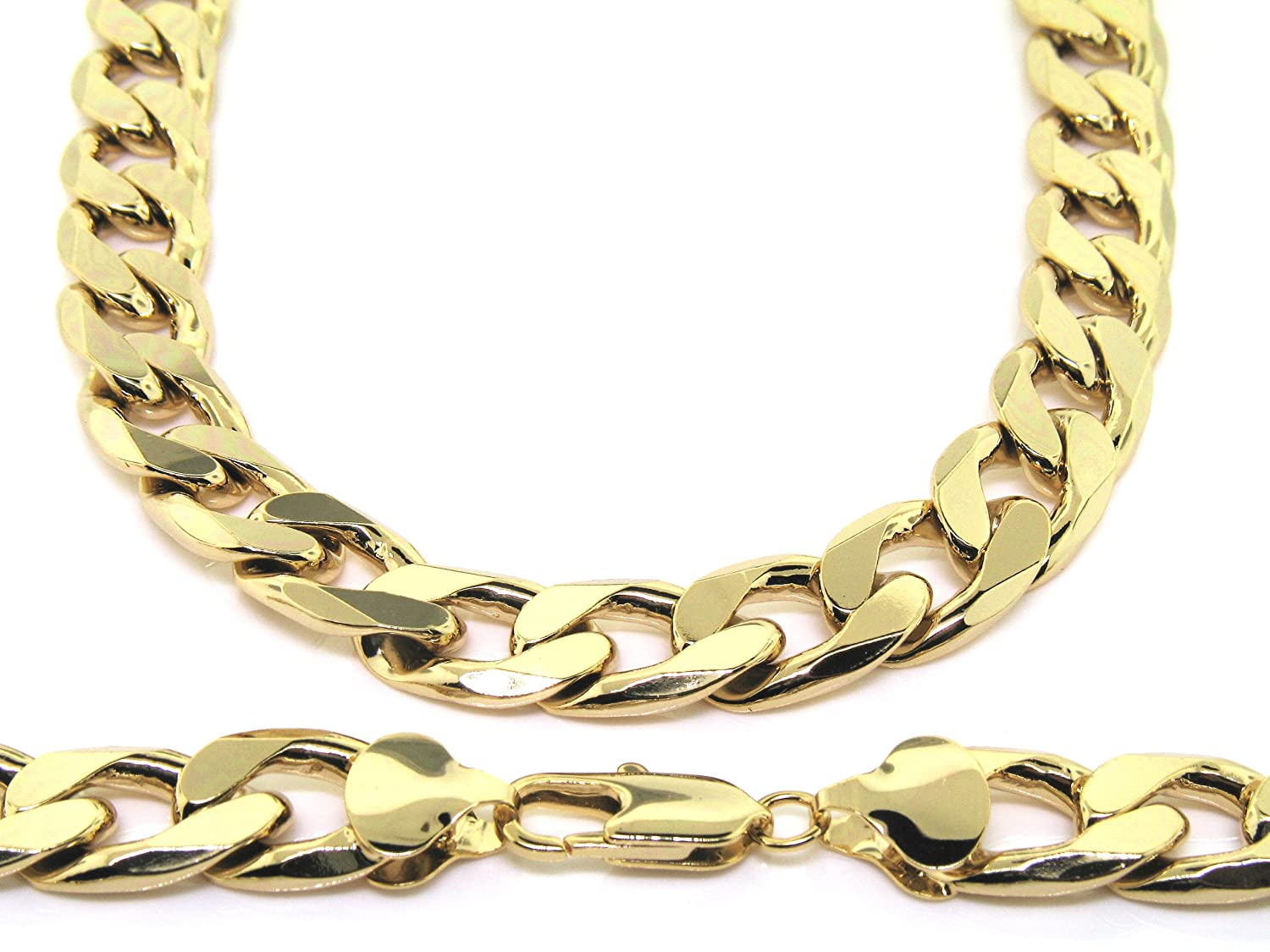 gold az w bling gauge white jewelry chain thin ng curb necklace italian