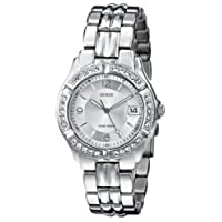 GUESS Women's G75511M Mid-Size Sporty Chic Crystal-Accented Silver-Tone Watch
