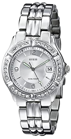 559e6f6c9 Amazon.com: GUESS Silver-Tone Bracelet Watch with Date Feature ...
