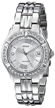 85da14538adf Amazon.com  GUESS Women s G75511M Mid-Size Sporty Chic Silver-Tone ...