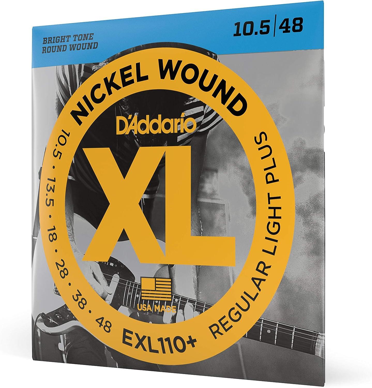 D'Addario EXL110+ - Juego de cuerdas para guitarra eléctrica de níquel, 10.5-48