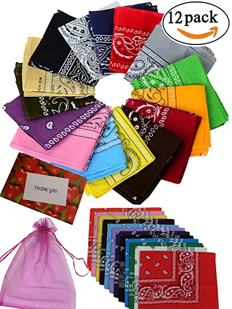 Double Sided Paisley Print Bandanas 12-Piece Pack of a Dozen Different Colors by B&S