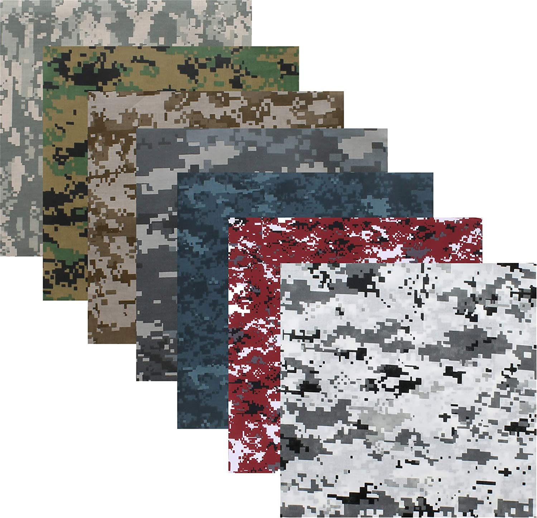 "ARMYU Digital Camouflage 100% Cotton Military Bandanas Bundle (22"" x 22""), 7 Pack 81oZkNKPwRL"