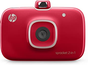HP 2FB98A#B1H Sprocket 2-in-1 Portable Photo Printer and Instant Camera, print social media photos on 2x3 inch sticky-backed paper - Red (2FB98A) ...