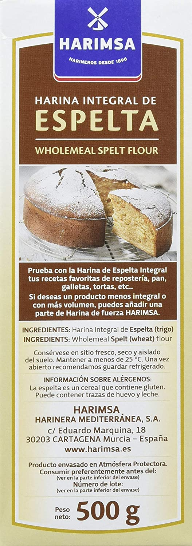 Harimsa - Harina Integral De Espelta - 500 gr: Amazon.es: Alimentación y bebidas