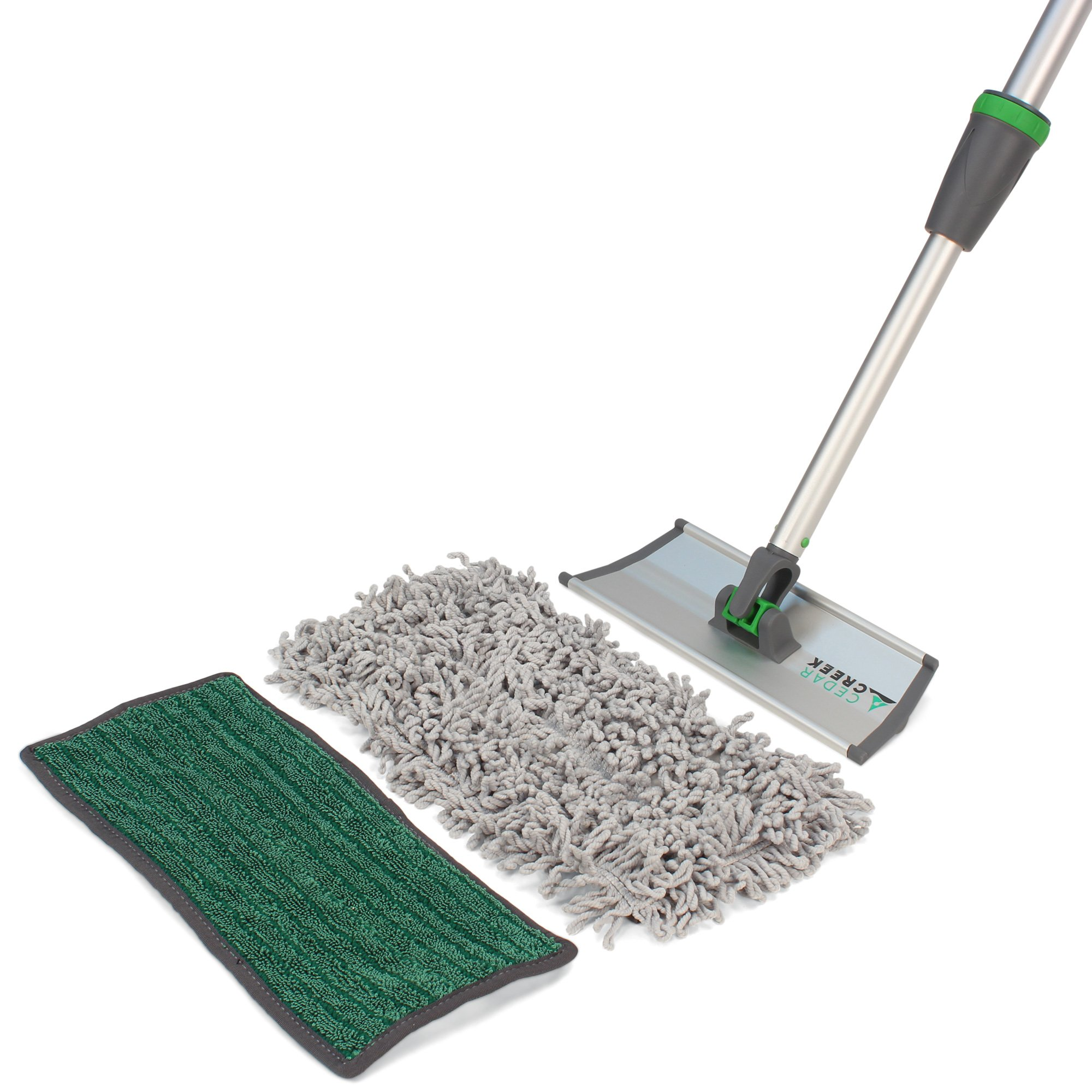 12'' Bathroom & Shower Microfiber Floor & Wall Cleaning Kit, 12'' Damp Mop, 12'' Loop Mop (great for picking up hair), Small Handle Adjusts from 25''-42'', 10'' Rocker Frame, Light Weight Aluminum