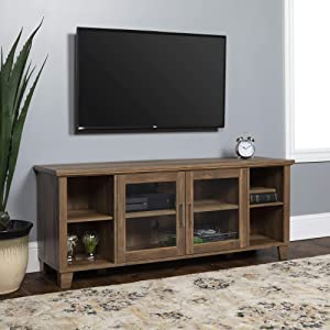 "Walker Edison Furniture Rustic Farmhouse Wood Stand for TV's up to 64"" Living Room Storage, 58"", Brown Reclaimed Barnwood"