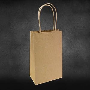 "5.25""x3.25""x8"" - 100 Pcs - Brown Kraft Paper Bags, Shopping, Mechandise, Party, Gift Bags"