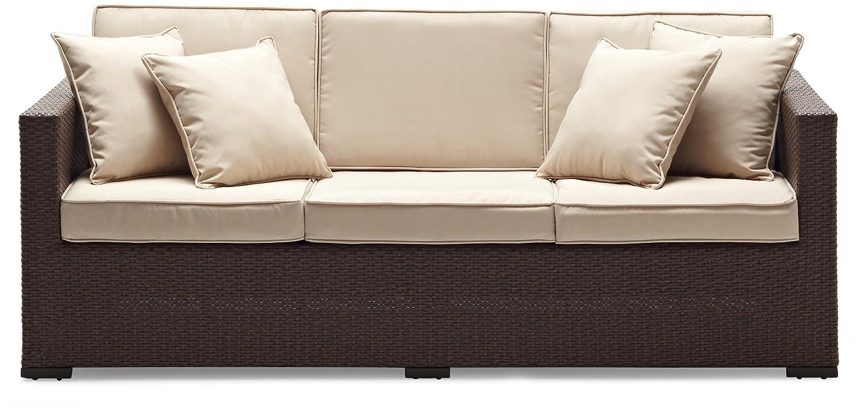 Captivating Amazon.com: Strathwood Griffen All Weather Wicker 3 Seater Sofa, Dark  Brown: Garden U0026 Outdoor