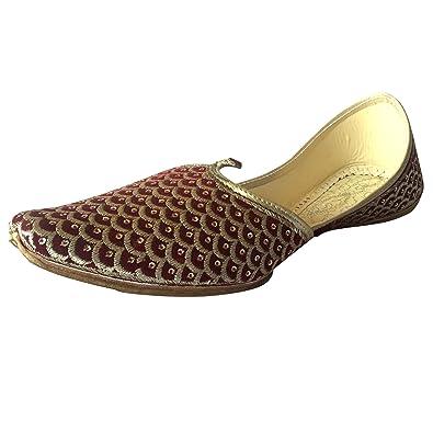 Schritt N Style Herren flach schwarz Hochzeit Khussa Schuhe Traditionelle indische Leder Slipper Panjabi jutti, Schwarz - schwarz - Größe: 42.5