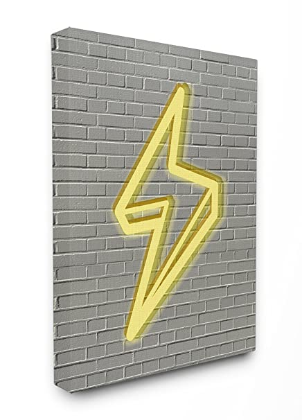 Amazon.com: Stupell Home Décor Neon Lightning with Brick Background ...