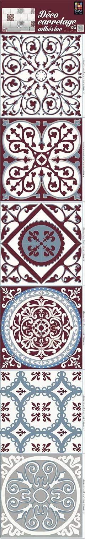 Décoration adhésive pour CARRELAGE Carreaux de Ciment, Polyvinyle, Rouge/Bleu, 15 x 15 x 0.1 cm PLAGE S.A. 260589