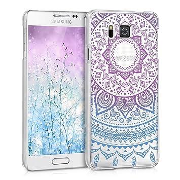 kwmobile Funda para Samsung Galaxy Alpha - Carcasa de [plástico] para móvil - Protector [Trasero] en [Azul/Rosa Fucsia/Transparente]