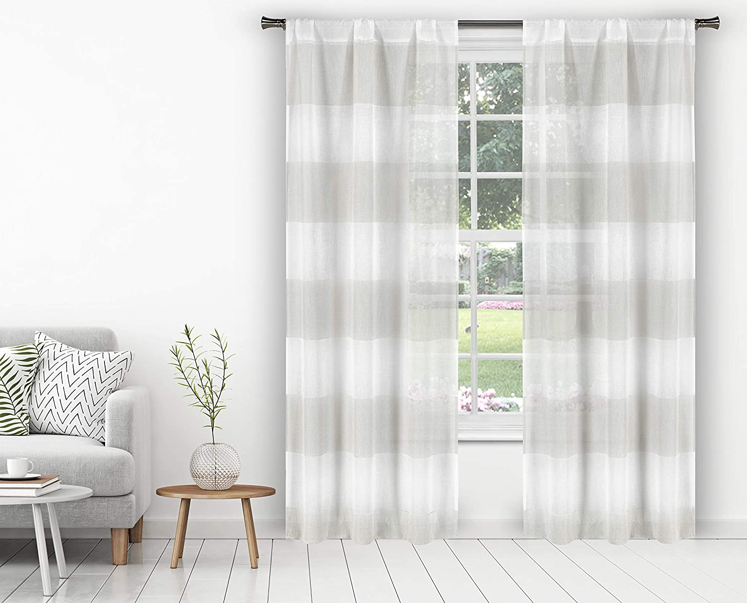 Home Maison Oakley Stripe Window Curtain, 37x84 (2 Pieces), Taupe-White