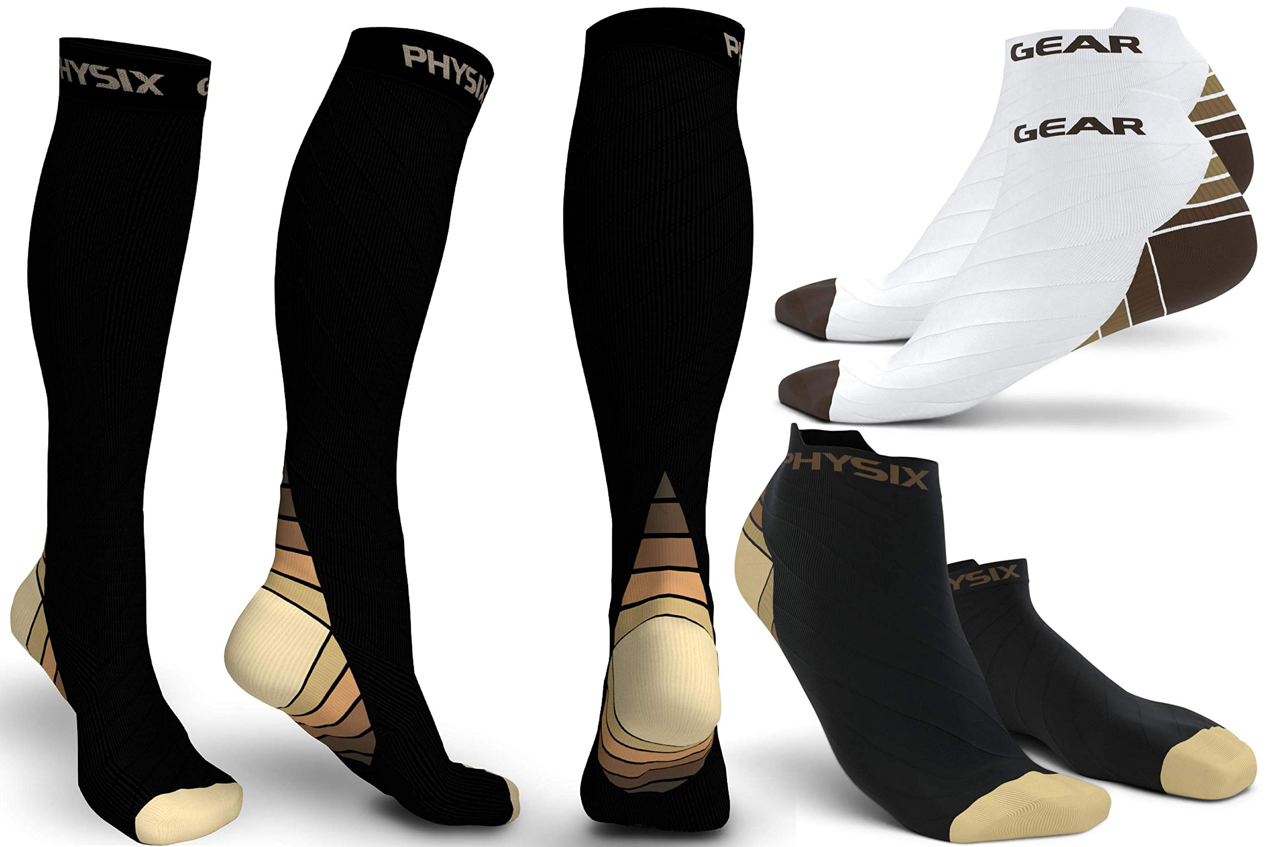 3 Pack Compression Socks for Men & Women 20-30 mmhg, Best Graduated Athletic Fit for Running Nurses Shin Splints Flight Travel & Maternity Pregnancy - Boost Stamina Circulation & Recovery BGE LXL