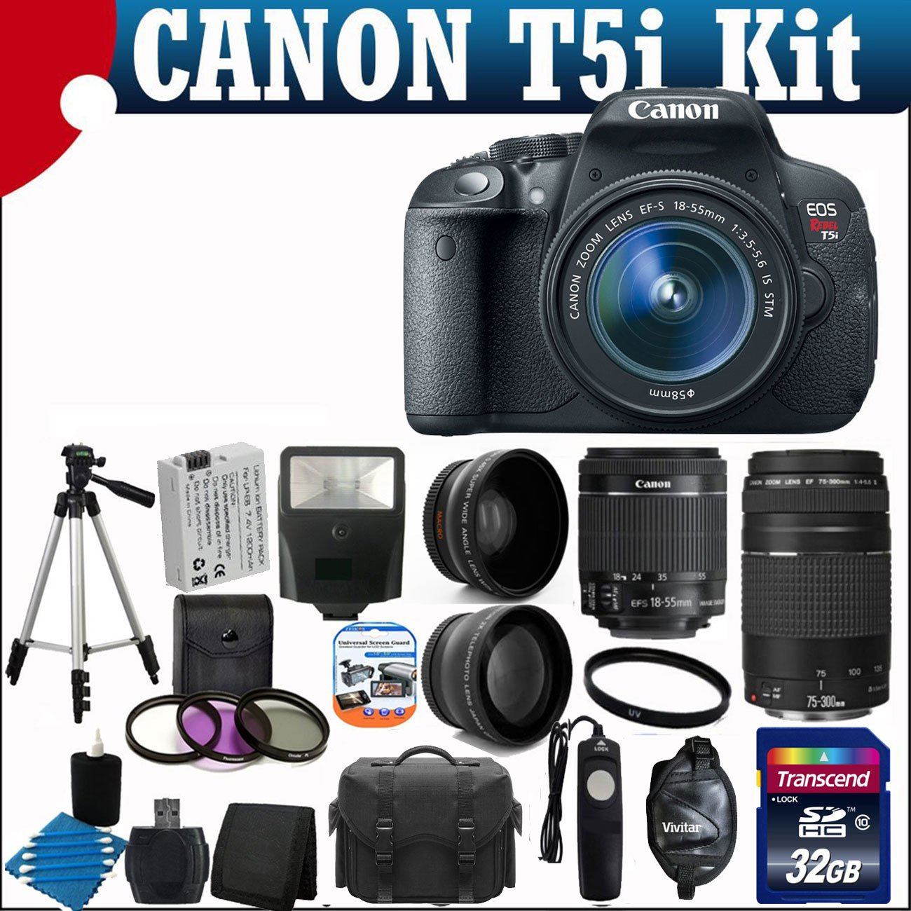 Canon EOS Rebel T5i 18.0 MP CMOS Digital Camera with EF-S 18-55mm f/3.5-5.6 IS STM Zoom Lens + EF 75-300mm f/4-5.6 III Telephoto Zoom Lens + 58mm 2x Professional Lens +High Definition 58mm Wide Angle Lens + Auto Flash + Spare LP-E8 Battery + Uv Filter Kit