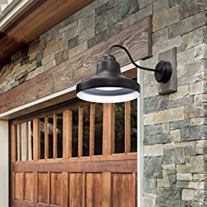 Hoover LED Outdoor Gooseneck Lantern Dusk to Dawn Sensor