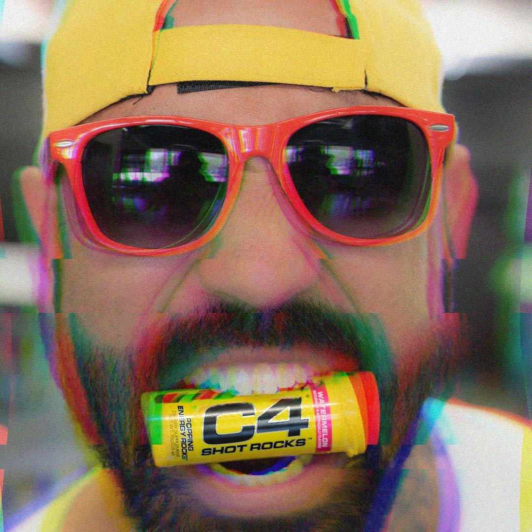 Cellucor C4 Shot Rocks, Pre Workout Energy Candy with Caffeine & Beta Alanine, ICY Blue Razz, (Pack of 12)