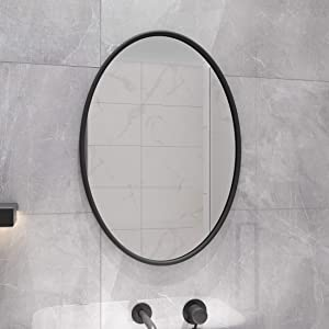 PROHOMEWARE Black Oval Bathroom Decorative Mirrors - Metal Frame 20X28 in Double Modern Vanity Beveled Bedroom Mirror Farmhouse Rustic Vintage Above Couch Entryway Wall Silver Mirror