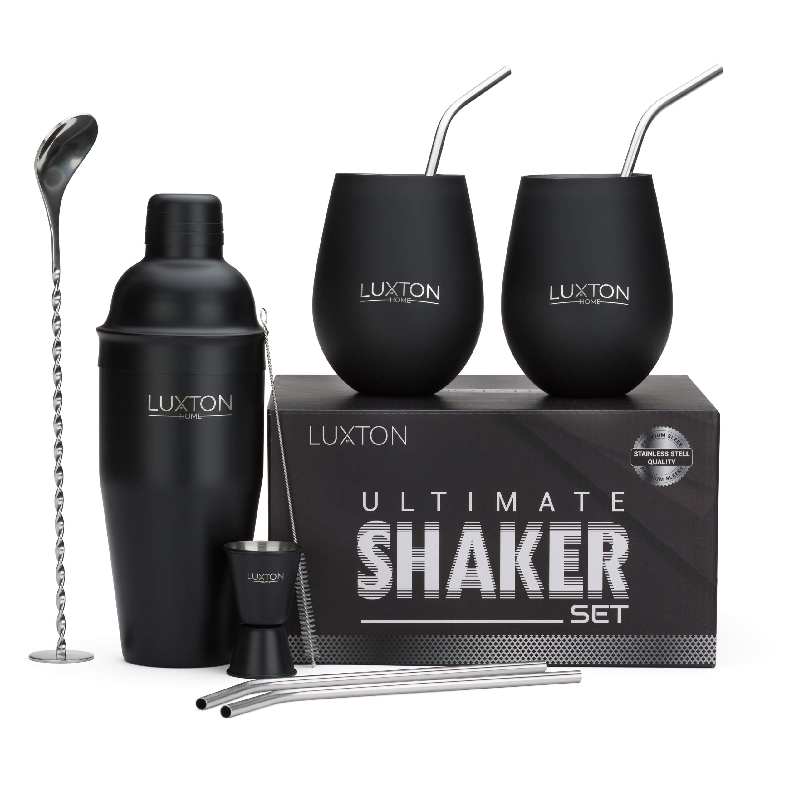 Luxton Home Ultimate Cocktail Shaker Set Matte Black - Plus 2 Cups & 4 Straws by Luxton Home