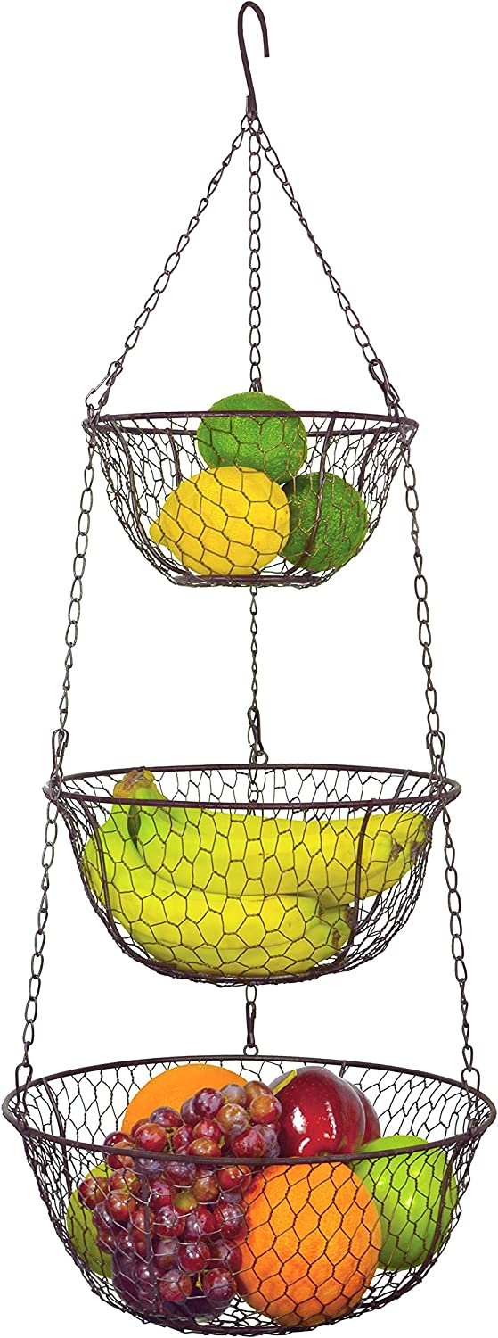 MyGift 3 Tier Chain Hanging Space Saving Rustic Country Style Chicken Wire Fruits/Produce/Plants Storage Baskets