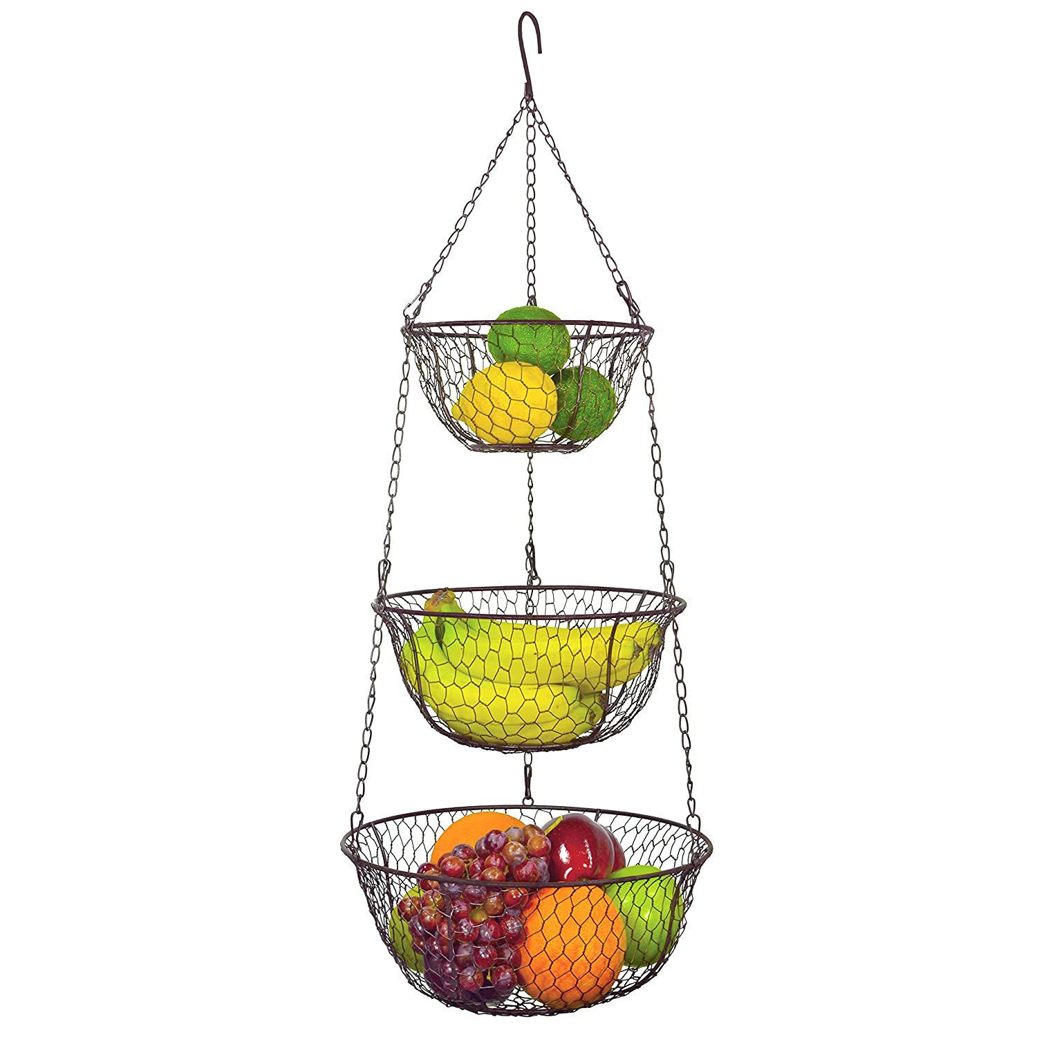 Marvelous Amazon.com: MyGift 3 Tier Chain Hanging Space Saving Rustic Country Style  Chicken Wire Fruits / Produce / Plants Storage Baskets: Home U0026 Kitchen