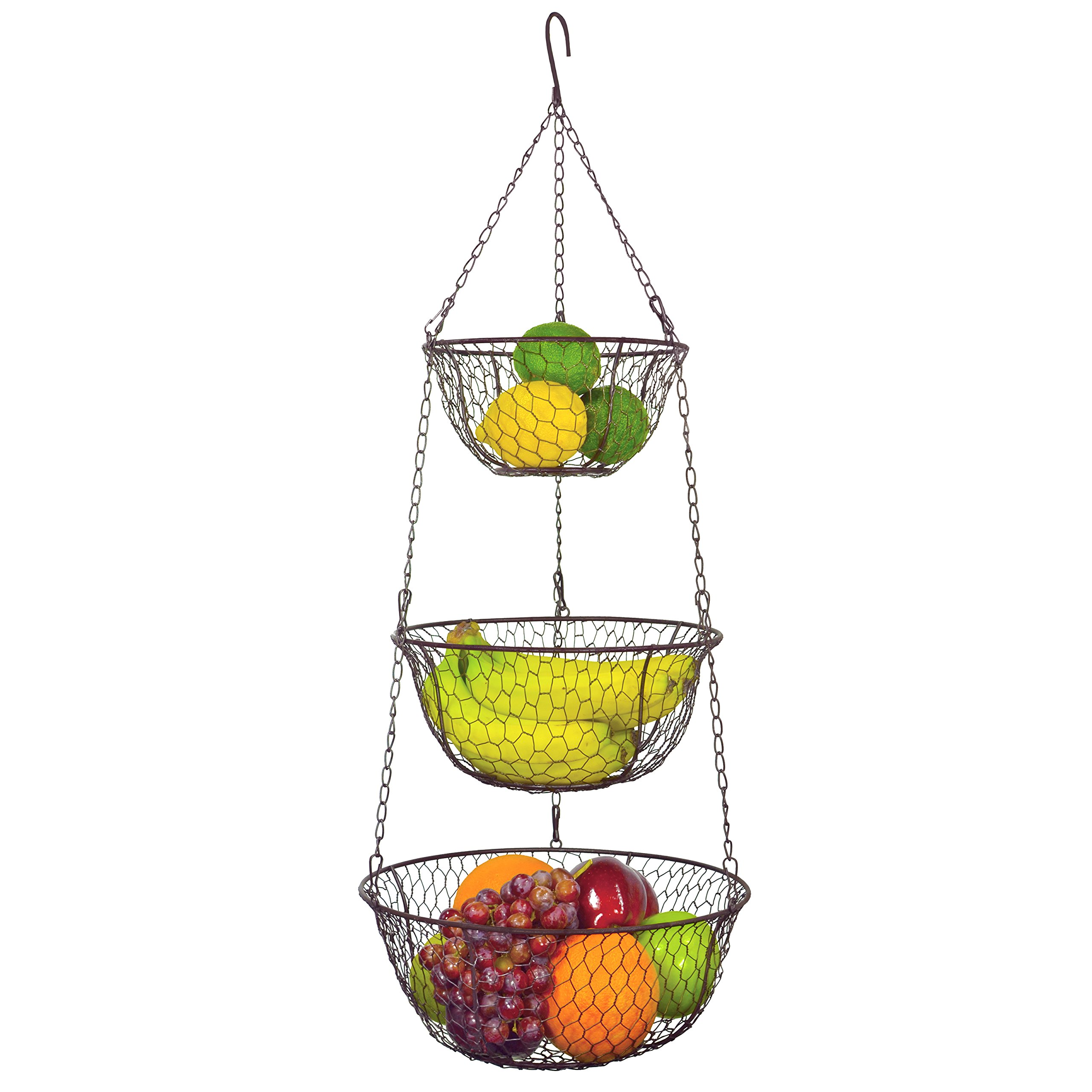 MyGift 3 Tier Chain Hanging Space Saving Rustic Country Style Chicken Wire Fruits / Produce / Plants Storage Baskets