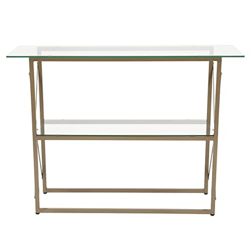 Flash Furniture Mar Vista Collection Glass Console Table with Matte Gold Frame, NAN-JH-1796ST-GG