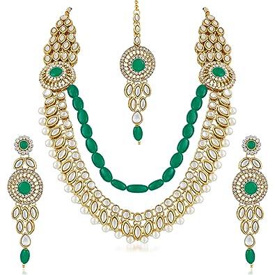 615c38b0e0fbf7 Buy Meenaz Fashion Jewelry Gold Plated Kundan Pearl Green Fancy Maang Tikka Necklace  Set Traditional Jewellery Set with Earrings for Women & Girls- NL-250 ...