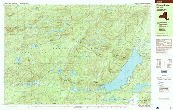 US Geological Survey topographic map metric New York USGS 1997 PISECO LAKE