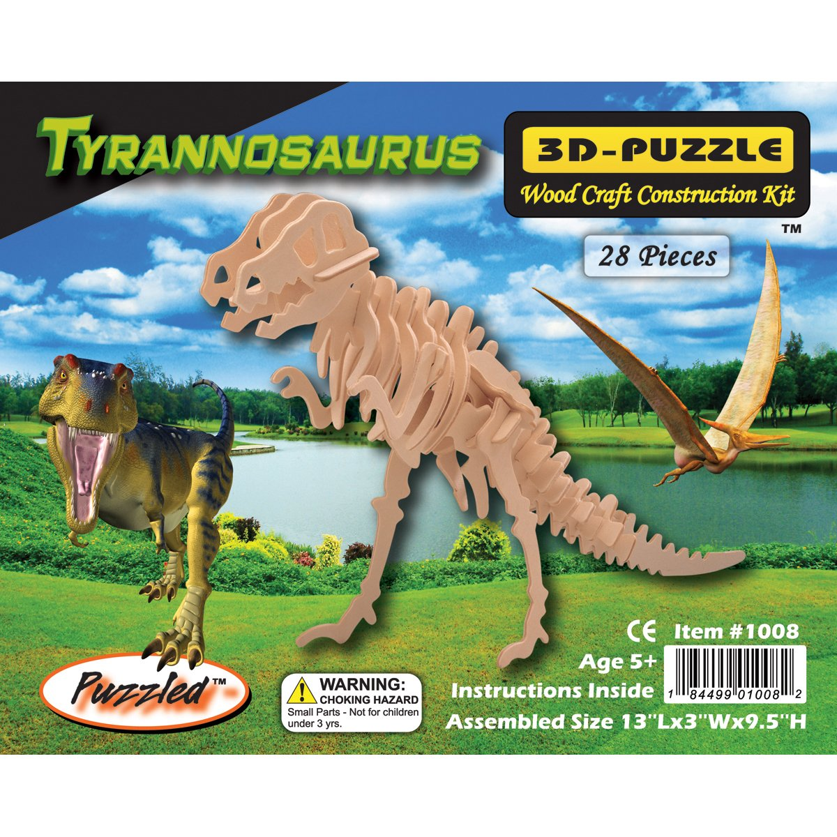 Jigsaw 3D Puzzle 28 Pieces 13X3X9.5, T-Rex Notions - In Network 238006
