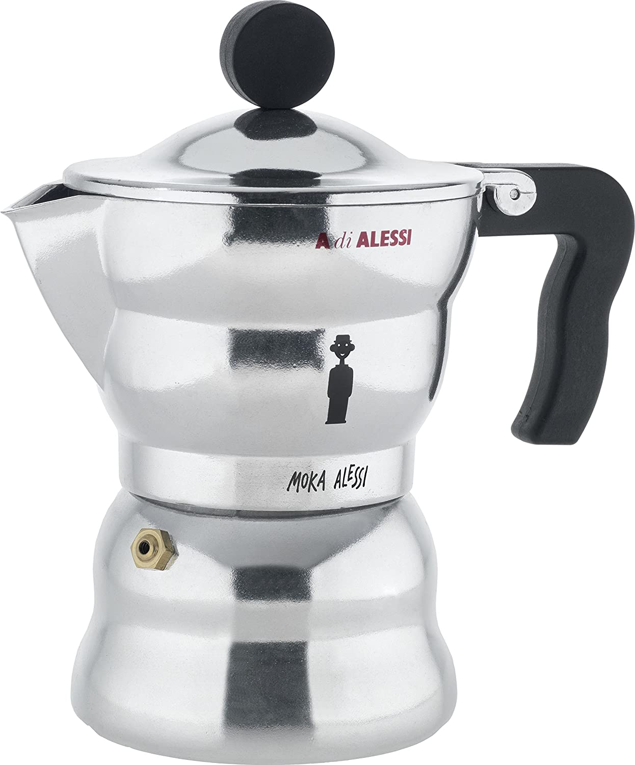 Alessi 3-Cup Moka Espresso Coffee Maker with Thermoplastic Resin Handle and Knob, Black AAM33/3