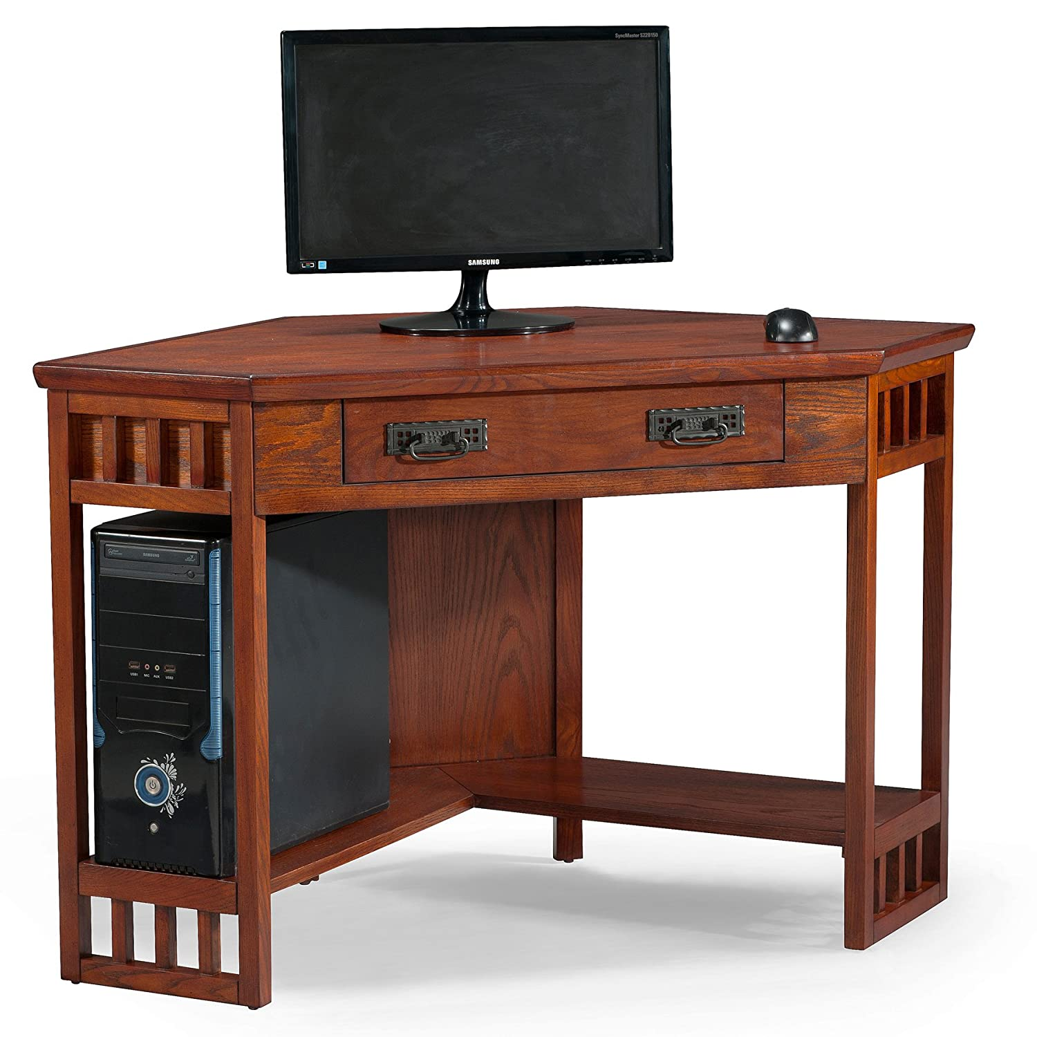 Oak office desk benefits for home office - Amazon Com Leick Corner Computer And Writing Desk Mission Oak Finish Kitchen Dining