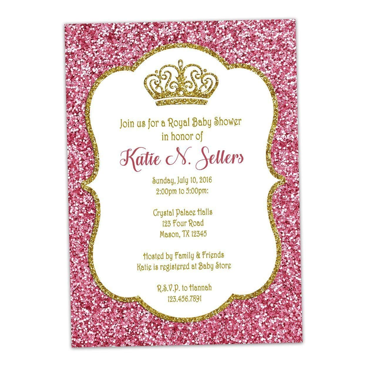 Amazon.com: Pink Gold Glitter Baby Shower Invitations Princess Royal Crown:  Handmade