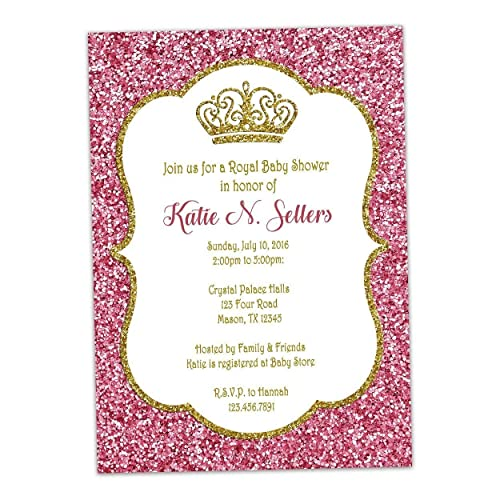 Pink Gold Glitter Baby Shower Invitations Princess Royal Crown
