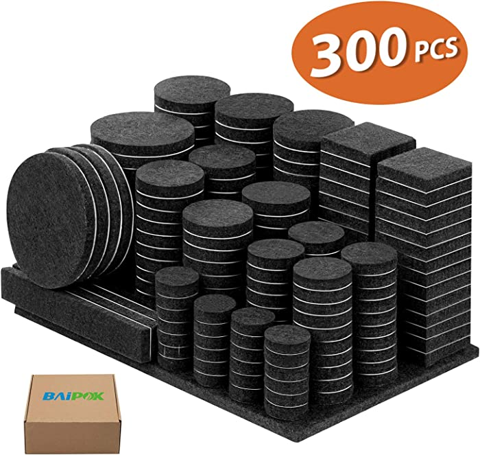 Furniture Pads 300 Pieces Felt Furniture Pads Premium Huge Pack, 5mm Thick Self Adhesive Anti Scratch Floor Protectors for Desk Chair Legs with Case and 60 Rubber Bumpers for Hardwood Tile Floor