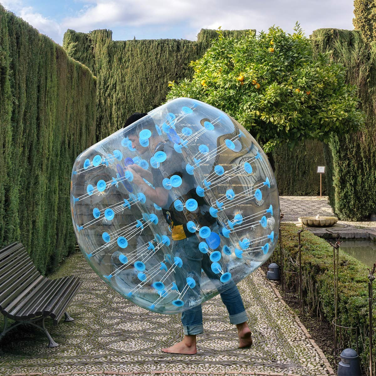 Costzon Inflatable Bumper Soccer Ball, Dia 5ft (1.5m) Giant Human Hamster Bubble Ball, 8mm Thickness Transparent PVC Zorb Ball for Kids, Teens Outdoor Team Gaming Play (Light Blue) by Costzon (Image #1)